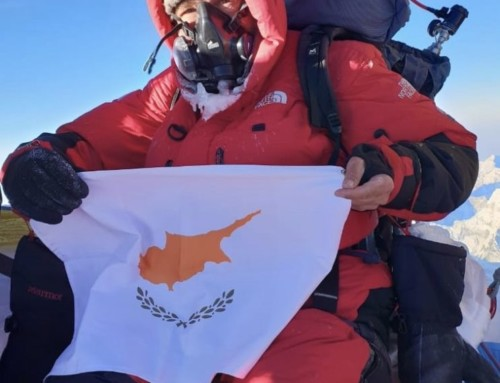 Cyprus flag on top of Mount Everest