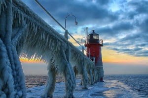 Frozen St. Joseph North Pier Lighthouse, Michigan, USA Image credits: Charles Anderson